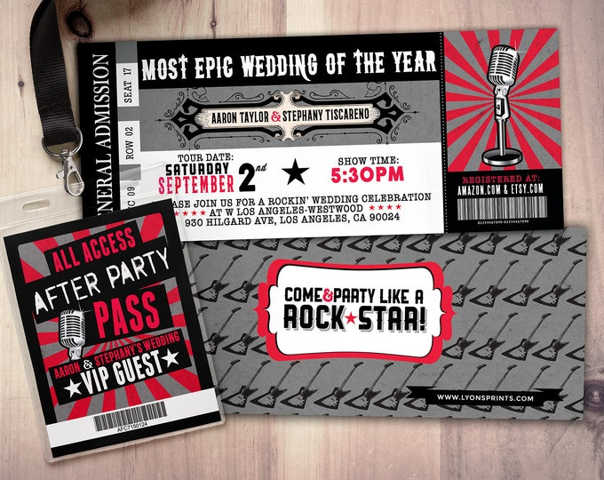 Rock Star wedding Invite/Bridal Shower INVITATION, ticket bridal shower invitation, rockstar shower, save the date, wedding invitation