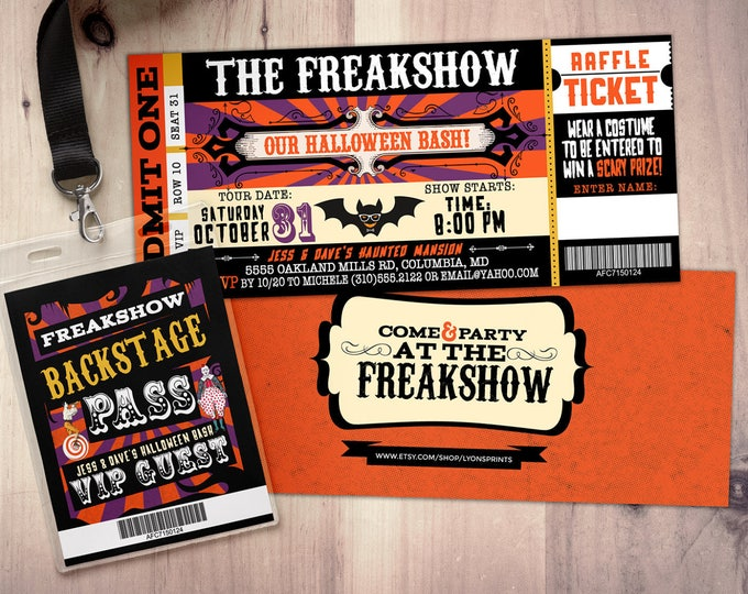 CIRCUS, Freak show party prom Invitation- Carnival invitation-prom invitation- graduation party invitation-school dance invitation