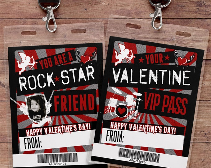 Valentine Cards for kids- Kids Valentine Cards- Rock Star Valentine Cards- DIY PRINTABLE Valentine Cards- Valentine - VIP pass valentine,