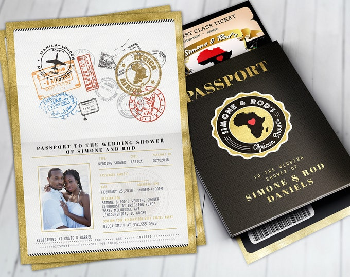 PASSPORT and TICKET bridal shower invitation, Birthday, African, Africa Passport, African Birthday, Wedding, African Digital files only