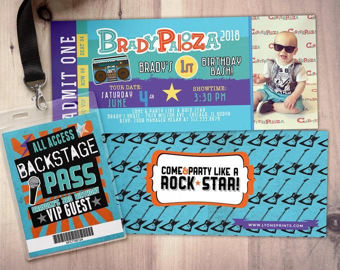 Rock Star-Concert ticket birthday invitation-  birthday invitation- pop star birthday invitation-music birthday invitation