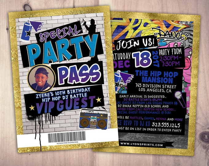 Hip Hop, Swagger, VIP PASS, backstage pass, Vip invitation, birthday invitation, pop star, lanyard, Fresh Prince, birthday, DJ, 90's party