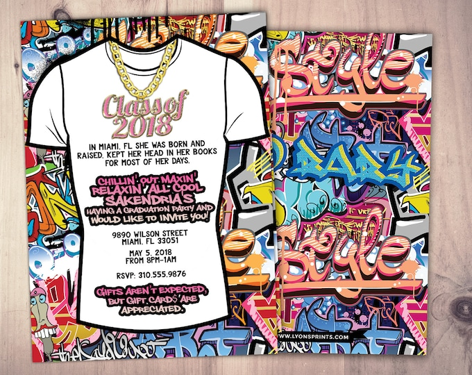 Fresh Prince, graduation party, Hip Hop, 90s party,Push it shower, birthday invitation, Graffiti, birthday, graduation, digital files