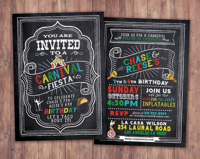 ANY AGE fiesta invitation / birthday fiesta invitation / fiesta birthday invitation / Carnival invitation / Mexican fiesta invitation
