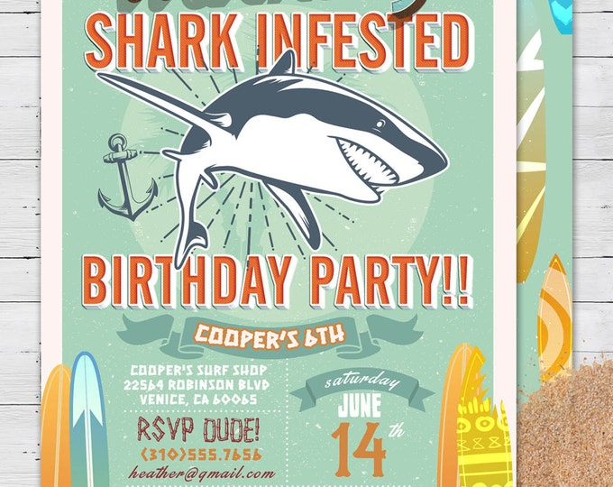 Shark invitation, Pool Party Invitation, surfer birthday, birthday invitation, invite, vintage surfer, girl birthday, pool party, swimming,
