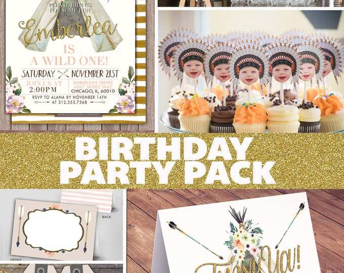 Party Pack, WILD ONE birthday Invitation, tribal birthday Invite, boho baby shower invite, invitation, arrow, pow wow, Tribal