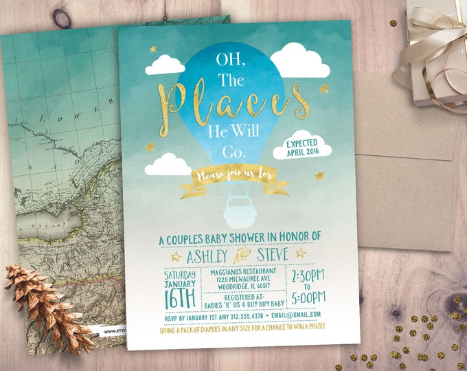 Oh The Places Baby Shower Invitation • Baby Shower Invitation • Baby Shower • 5x7 Printable • precious cargo