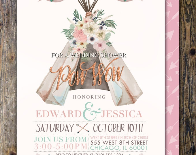 BOHO wedding shower Invitation, Aztec shower Invite, invitation, Aztec, couples shower, teepee, Tribal, wedding, bridal shower invitation,