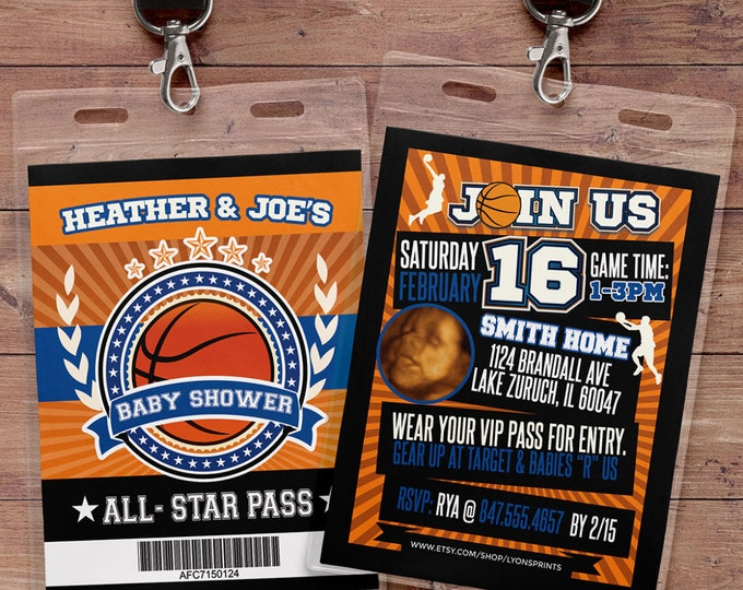 Vintage basketball Shower Invitation // All Star Baby Shower //  BIRTHDAY invitation, basketball, sports shower