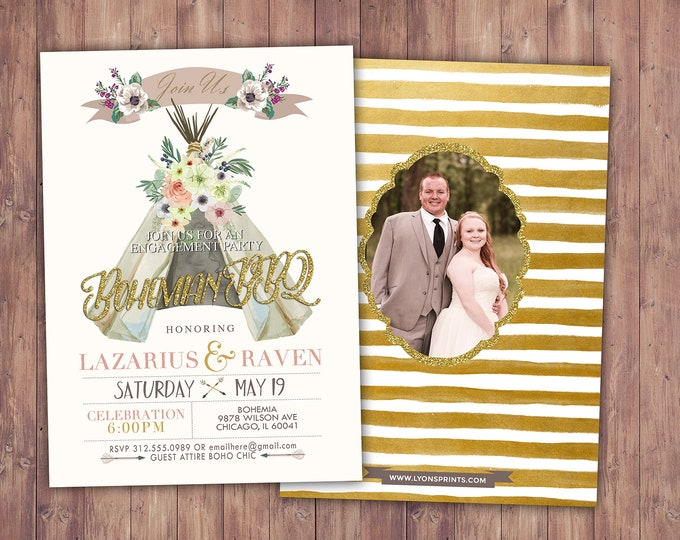 Bohemian, engagement shower, Happily ever after invitation, BOHO wedding shower Invitation, couples shower,wedding, bridal shower invitation