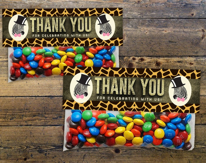 Safari Animals Treat Bag Toppers - Instant Download -  Jungle Favor Toppers Instant, Sandwich Baggie Size, animal print, birthday favor