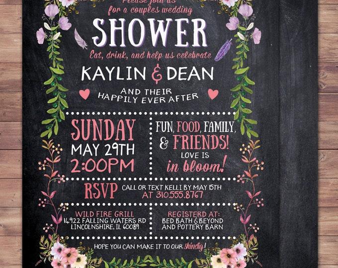 Happily ever after invitation, BOHO wedding shower Invitation, couples shower, arrows, Tribal, wedding, bridal shower invitation, floral