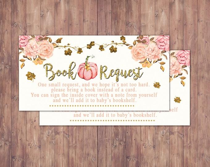 Little Pumpkin Baby Shower, Book request insert, pumpkin baby shower, fall baby shower, BOHO, watercolor, shower game