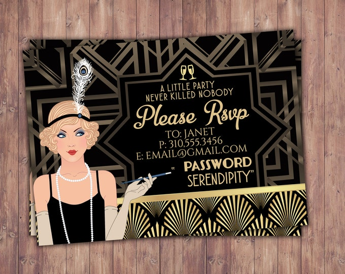 Great Gatsby birthday, RSVP card, Roaring 20's, Hollywood film theme party, Black and gold, glam, old Hollywood