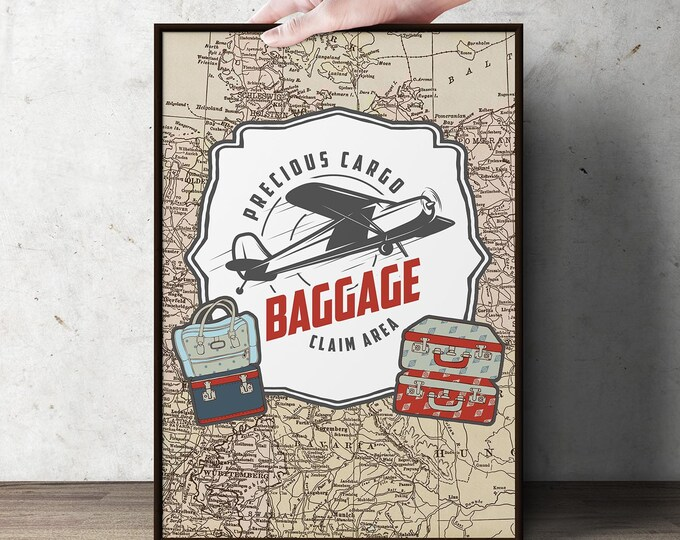 Precious Cargo, table signs, Baby Shower decor, Baby Shower, vintage airplane, luggage sign
