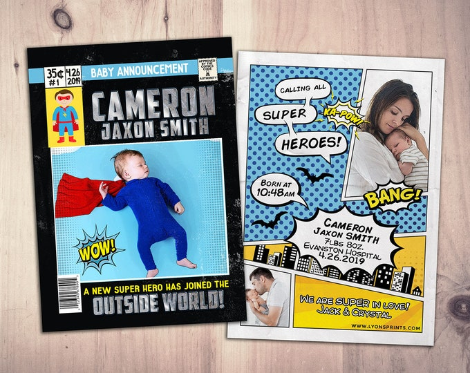 Superhero Custom Birth Announcement , comic birth announcement, baby boy, baby girl, super hero