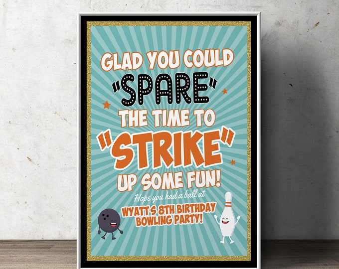 Bowling birthday party, Bowling table sign, retro bowling, bowling, Strike, bowling party sign, poster, welcome sign