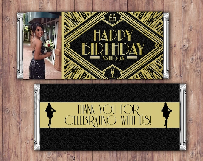 Birthday Candy Bar Wrapper, old hollywood, chocolate wrapper- 40th, 21st, 30th, 50th, 60th, 70th, 1st, Gift, Roaring 20's, party favor