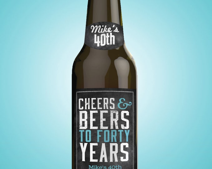 Personalized DIGITAL Beer Labels, Cheers and beers, birthday, 30th, 40th, 50th, 60th, 70th, Cheers and beers to thirty years, surprise party