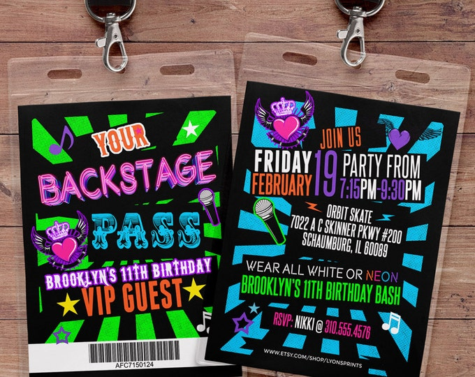 Retro, neon, VIP PASS, backstage pass, Vip invitation, birthday invitation, pop star, bridal shower invite,  lanyard, Rock Star birthday,