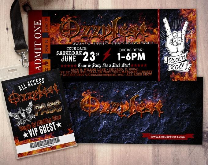 ROCK STAR concert ticket birthday party invitation- Music invitation, rockstar party, guitar, first birthday, 40 rocks, 30th,21st,50th, VIP