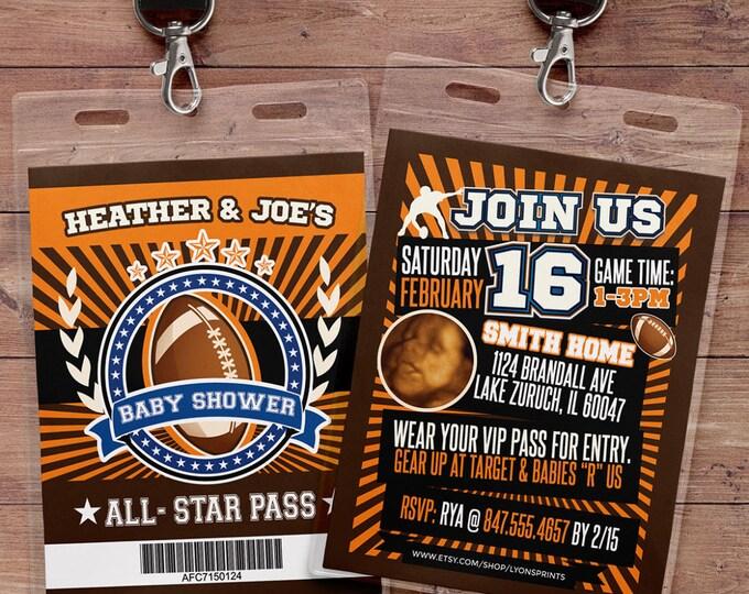Football ticket Invitation // All Star Shower // VIP pass, BIRTHDAY invitation, boy birthday, sports birthday, football baby shower, vintage