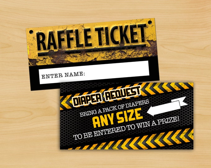 Baby Shower Diaper Raffle Ticket, Construction- Printable Instant Download, boy shower, boy birthday, shower game, party game, book request