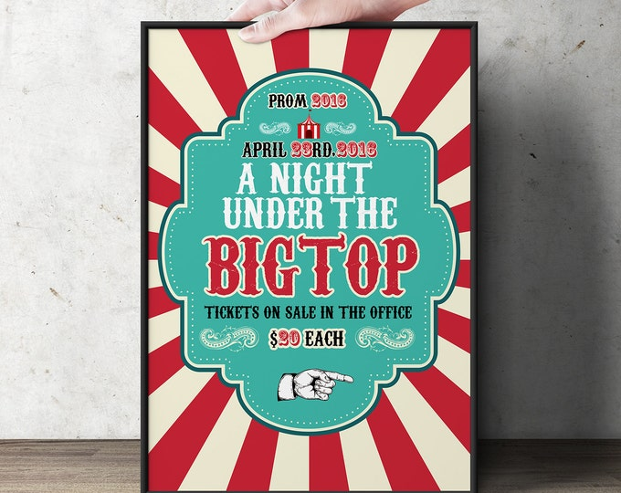Digital Circus, prom, baby shower, birthday, poster, party sign, welcome sign, circus decor, school dance, retro, vintage circus