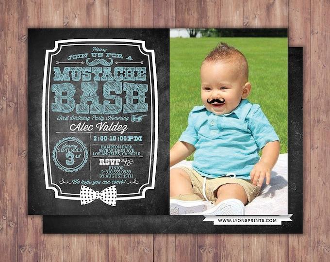 Mustache Bash birthday Invitation - Mustache Birthday Invite - Printable Invite - Little Man- birthday, first birthday, mustache, retro
