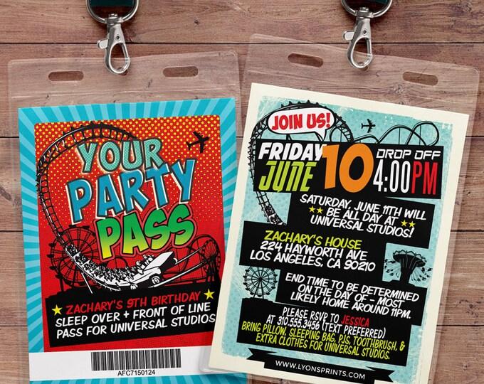 Amusement Park party, Super Hero party invitation, boy birthday invitations, roller coaster invite, theme park invite, VIP pass