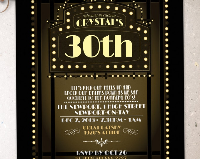 Great Gatsby birthday invitation, Roaring 20's, Hollywood film theme party invite. Black and gold glam printable digital invite, glam,