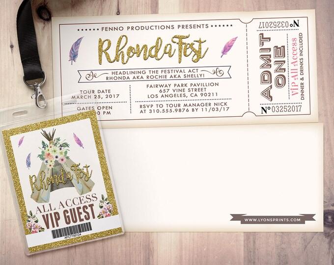 ANY AGE, Teepee Birthday Invitation, ticket invitation, pow wow, BOHO, Tribal, first birthday, wild and free, music festival, wild one