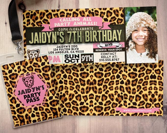 Ticket invitation, ZOO, birthday invitation, baby shower, leopard print, twins birthday, animal print, animals, ,safari birthday,leopard