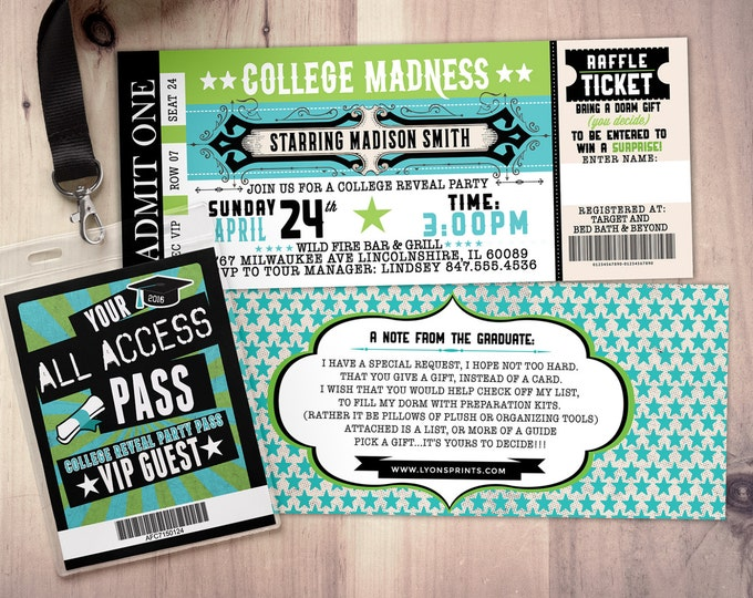 College reveal party, Concert ticket, graduation party invitation, rockstar birthday invitation, VIP pass, ticket invitation, rock star