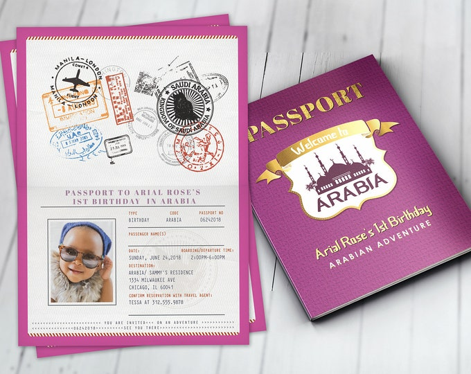 Arabia, Arabian, Passport and ticket, birthday invitation, Girl birthday, travel birthday party invitation, birthday, ethnic, Arabian nights