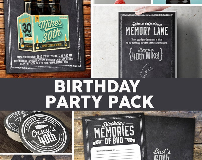 ANY AGE, Cheers and Beers invitation, party pack beer, 21st, 30th, 40th, 50th, 60th, 70th, Surprise Birthday Party, adult birthday, cheers,