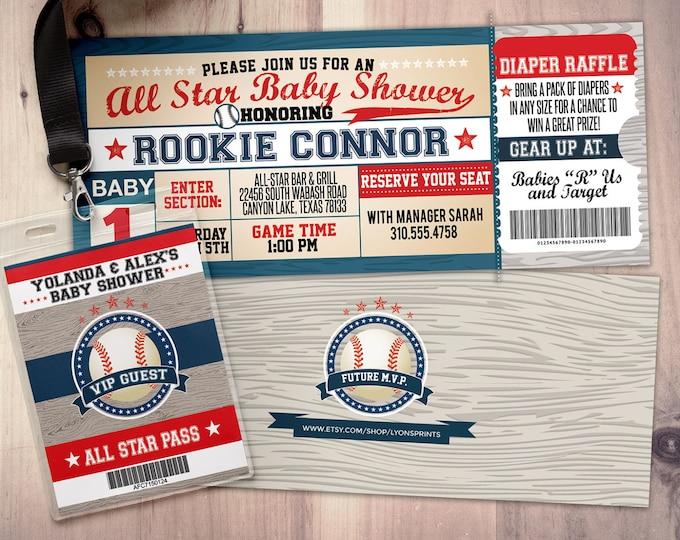 Vintage Baseball baby shower Invitation, All Star Little Slugger Baby Shower, MVP invitation, sports, baseball invitation