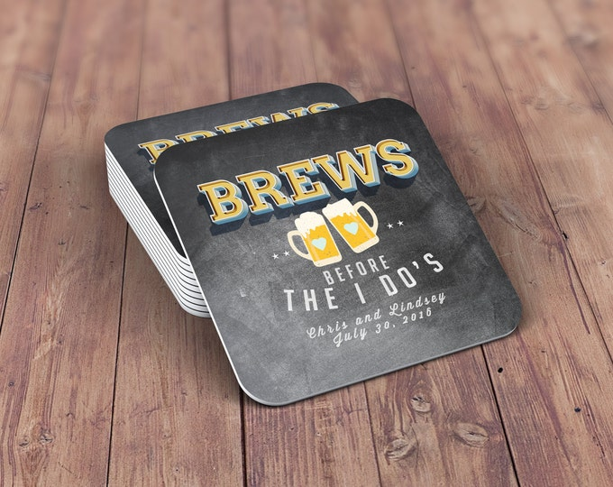 Digital logo file, brews before the I do's , Coed wedding shower invitation- Beer- couples shower  -  BBQ, bridal shower, wedding