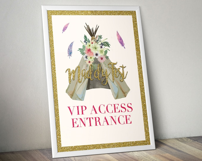 Digital file, Welcome sign, BOHO, Teepee, Birthday party decor, Music festival, poster, sign, glitter, party poster, party sign, Boho party