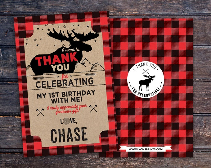 Baby shower, thank you, digital file only, Lumberjack thank you card, Lumberjack birthday, Buffalo Plaid Woodland. bear thank you card