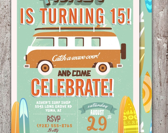 Pool Party Invitation, surfer birthday, birthday invitation, invite, vintage surfer, girl birthday, pool party, swimming, surfing, twins