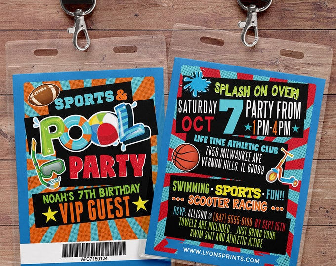 POOL PARTY INVITATION - Pool Party Invite - Sports party invitation - Summer Birthday Invite - Swimming Pool - swimming party