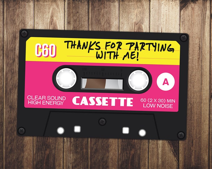 Party favor tag, fresh prince, 80's party, 90's party, retro, DJ , rock star party, rock star birthday, rock star,Hip Hop, Music, Mix Tape