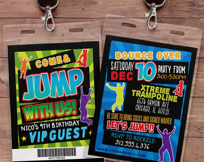 Jump invitation, Bounce house invitation, Trampoline birthday invitation, Pump It Up Party, trampoline party, jump birthday, VIP pass
