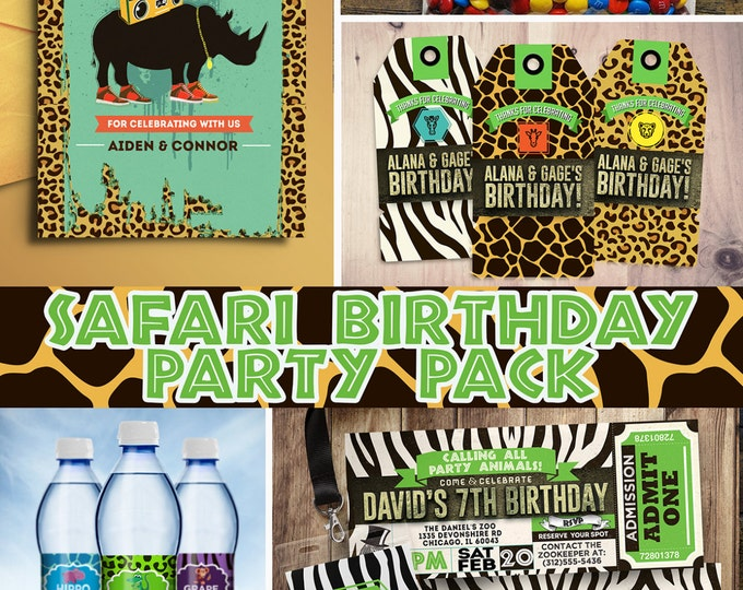 ZOO, Safari, jungle, birthday party, invitation, baby shower, safari shower, safari birthday, party pack, Zoo birthday, animal print