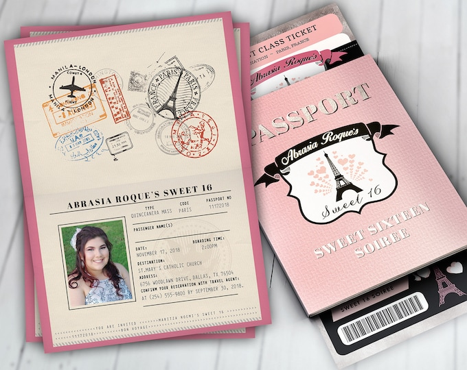 PASSPORT and TICKET invitation, travel birthday party invitation- Paris, Eiffel tower,  first birthday, sweet 16, Digital files only
