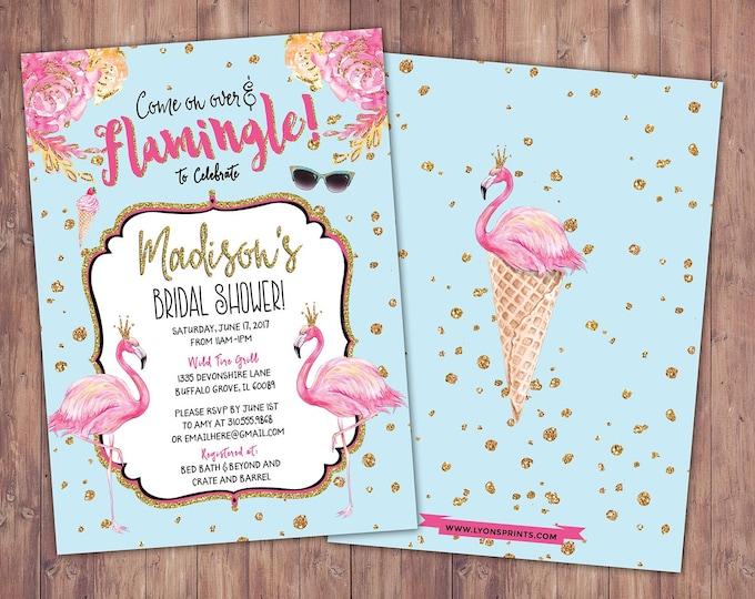 Bridal shower, Flamingo invitation, Flamingo party, pool party invitation, baby shower invitation, pink gold invitation, ice cream party
