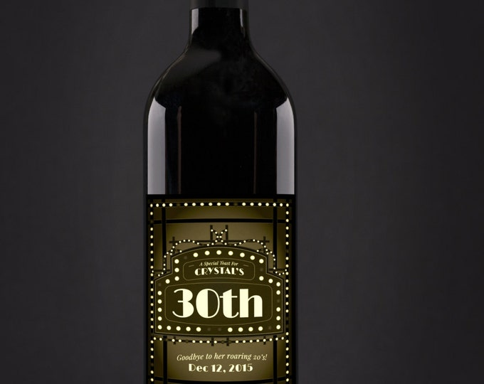 Roaring 20's, Great Gatsby, Beer or wine Labels, Cheers and beers, birthday, 30th, 40th, 50th, 60th,70th, Digital file only