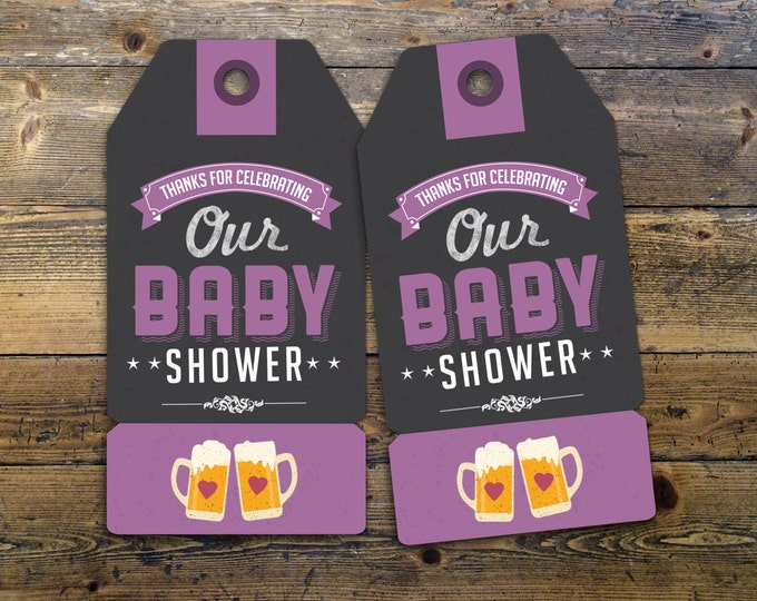 """Party favor tag """"Baby is Brewing"""" baby shower, baby shower games, baby shower sign, beer and BBQ,"""