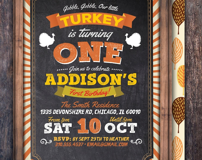 Turkey Thanksgiving Birthday Invitation Printable, Pumpkin birthday invitation -  Thanksgiving, Fall birthday, Gobble Gobble, Turkey